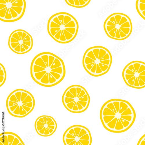 Lemon slices pattern. Citrus background. Vector illustration - 205770605