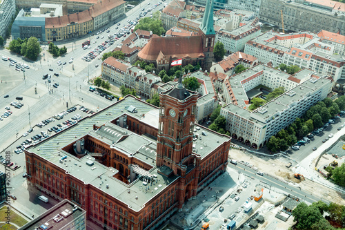 Fotobehang Berlijn BERLIN, GERMANY - May 17, 2018: View from the TV tower on the sights of the city and the red town hall