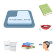 Translator and linguist cartoon icons in set collection for design. Interpreter vector symbol stock web illustration.