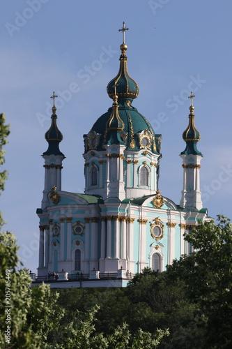 Aluminium Kiev view of Saint Andrew's Church in Kyiv city and blue sky