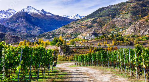 Aluminium Freesurf Castles and wineyards of Valle d'Aosta with scenic Alps mountains