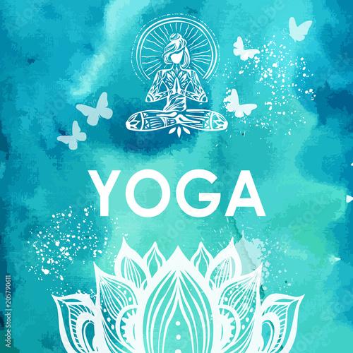 Fototapeta Girl in lotus yoga pose on watercolor background