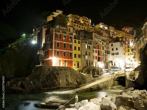 Aluminium Liguria Riomaggiore village by night, Liguria, Italy