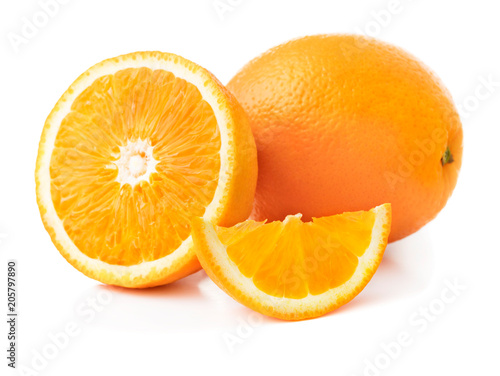solid and cut oranges isolated on white background