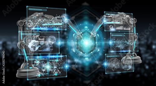 Robotics arms with digital screen 3D rendering © sdecoret