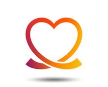 Heart Ribbon Sign Icon Love Symbol Blurred Gradient Design Element Vivid Graphic Flat Icon  Sticker