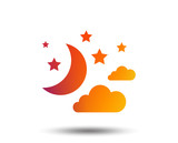 Moon, clouds and stars icon. Sleep dreams symbol. Night or bed time sign. Blurred gradient design element. Vivid graphic flat icon. Vector