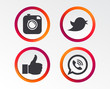 Hipster photo camera icon. Like and Call speech bubble sign. Bird symbol. Social media icons. Infographic design buttons. Circle templates. Vector