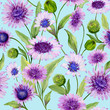 Beautiful blue and purple daisy flowers with green leaves on light blue background. Seamless spring pattern. Watercolor painting. Hand painted floral illustration - 205802601
