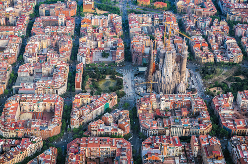 Fotobehang Barcelona Barcelona aerial view, Eixample residencial district and Sagrada familia, Spain. Typical urban grid