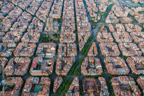 Aerial view of Barcelona Eixample residencial area and Sagrada familia, Spain. Late afternoon light © marchello74