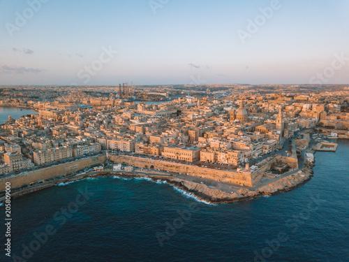 Wall mural beautiful view from above with St Julian, Sliema and Valetta cities.