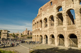 view of the facade of Coliseum in Rome, Italy