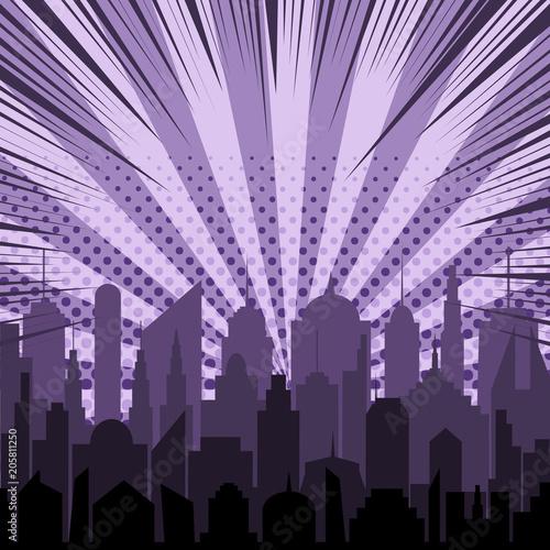 Comic night city silhouette template