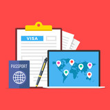 Visa application. Clipboard with visa application form, passport, pen and laptop with map of the world and map markers. World travel, tourism, holidays concepts. Flat design. Vector illustration - 205811421