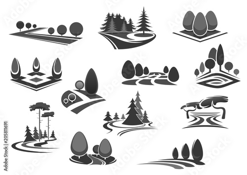 Nature landscape icon set with tree and plant