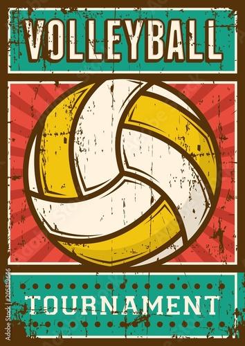 Plexiglas Vintage Poster Volley Ball Volleyball Sport Retro Pop Art Poster Signage