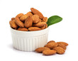 Quadro the fresh almonds in white cup on white background
