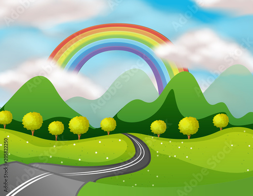 Fotobehang Lime groen Beautiful Nature Road Under the Rainbow