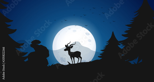 Fotobehang Kids Silhouette Deer at Night Forest