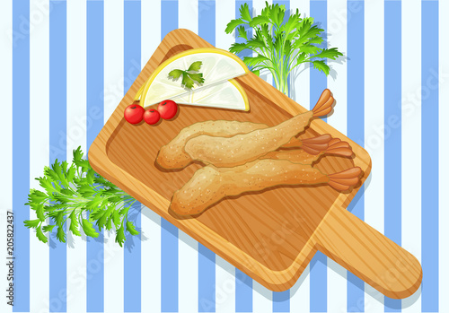 Fotobehang Kids Crispy Shrimp Tempura on Chopping Board
