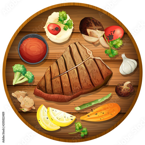 Fotobehang Kids Steak dinner on round platter