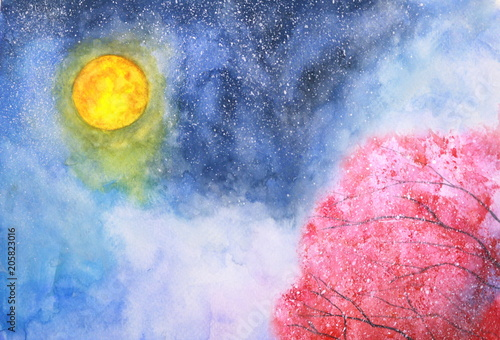 watercolor illustration hand drawn full moon and red tree landscape. © atichat