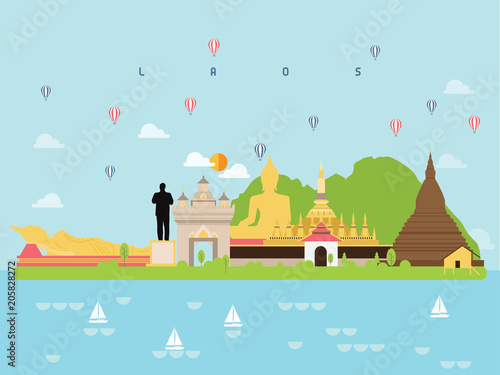 Fotobehang Lichtblauw lLaos Famous Landmarks Infographic Templates for Traveling Minimal Style and Icon, Symbol Set Vector Illustration Can be use for Poster Travel book, Postcard, Billboard