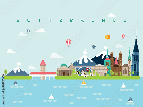 Aluminium Lichtblauw Switzerland Famous Landmarks Infographic Templates for Traveling Minimal Style and Icon, Symbol Set Vector Illustration Can be use for Poster Travel book, Postcard, Billboard