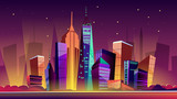 Fototapeta Nowy Jork - New York cityscape vector illustration. Cartoon New York landmarks in night, Freedom Tower on One World Trade Center and famous US America city buildings or skyscraper architecture with illumination © vectorpouch