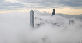 Chicago downtown buildings skyline thick fog cloud - 205830275