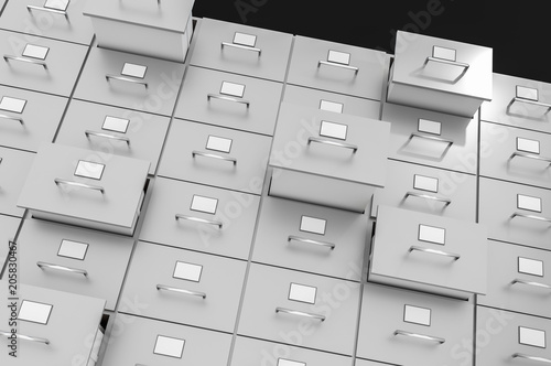 Filing cabinets with open drawers - data collection concept © andriano_cz