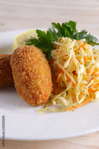 Aluminium Kiev Chicken Kiev cutlet with pickled cabbage and mashed potato