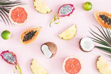 Summer Fruits Tropical Palm Leaves Pineapple Coconut Papaya Dragon Fruit Orange On Pastel Pink  Flat Lay Top View Sticker