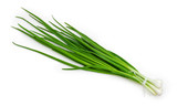 Bunch of the peeled green onion on a white background - 205838474