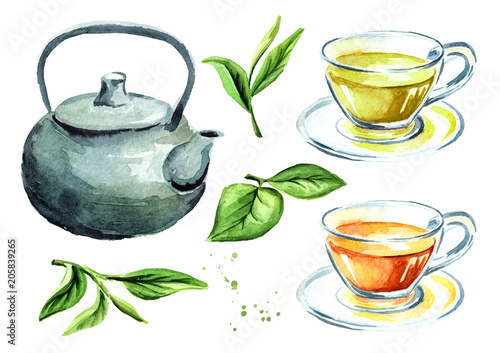 Tea set with pot, cups and green tea leaves. Watercolor hand drawn illustration, isolated on white background