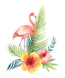 Watercolor vector card of tropical leaves and the pink Flamingo isolated on white background. - 205840610