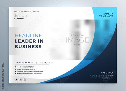 Wall mural professional blue business brochure template design