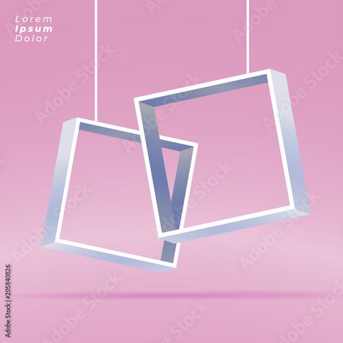 hanging 3d open boxes on pink background