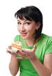 girl posing with sweet cake, isolated on white background