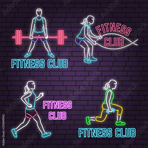 Set of neon fitness club sign on brick wall background. Vector illustration.