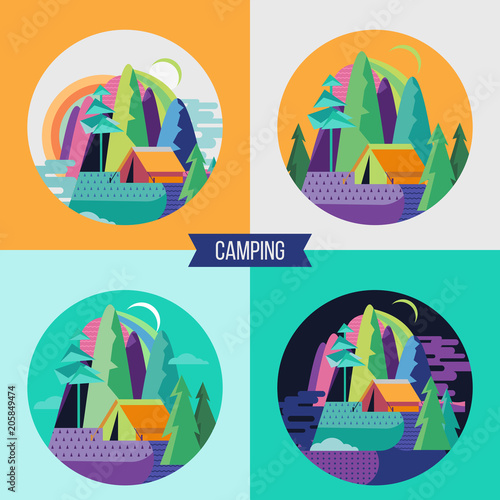 Foto Spatwand Groene koraal Camping. Summer holidays in a tent on the nature. Vector illustration.