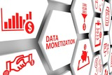 Data monetization concept cell background 3d illustration