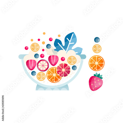 Bowl with ripe fruits and berries. Delicious and healthy salad from organic ingredients. Abstract flat vector icon with texture - 205851696