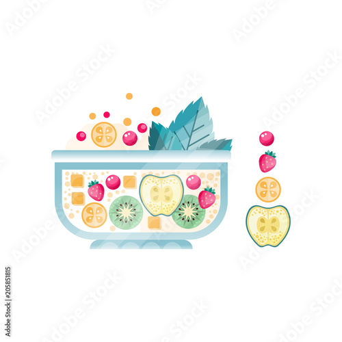 Fresh fruit salad in glass bowl. Sweet dish from ripe apple, strawberry, kiwi, cranberry and mint leaves. Vegetarian nutrition. Flat vector design with texture - 205851815