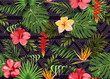 Seamless pattern with exotic flowers and tropical leaves - 205854025