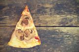 Piece of pizza with mushrooms and ham on a wooden background, rustic style and copy space - 205854200