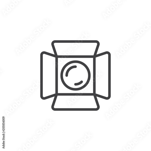 Studio light outline icon. linear style sign for mobile concept and web design. Movie spotlight simple line vector icon. Symbol, logo illustration. Pixel perfect vector graphics