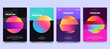Vector colorful glitch poster set. Circle shape with modern Tv distortion effect. Abstract geometric background with vhs glitch effect. Applicable for banner design, cover, invitation, party flyer.