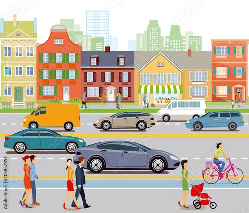 Wall mural Stadt mit Autoverkehr und Fußgänger, Illustration